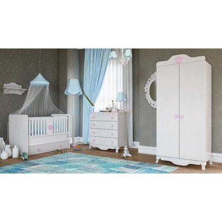 Babi Baby Kraliçe Mini Bebek Odası Takımı.  2 Kapaklı gardırop.   70 x 130 beşik.  Şifonyer.
