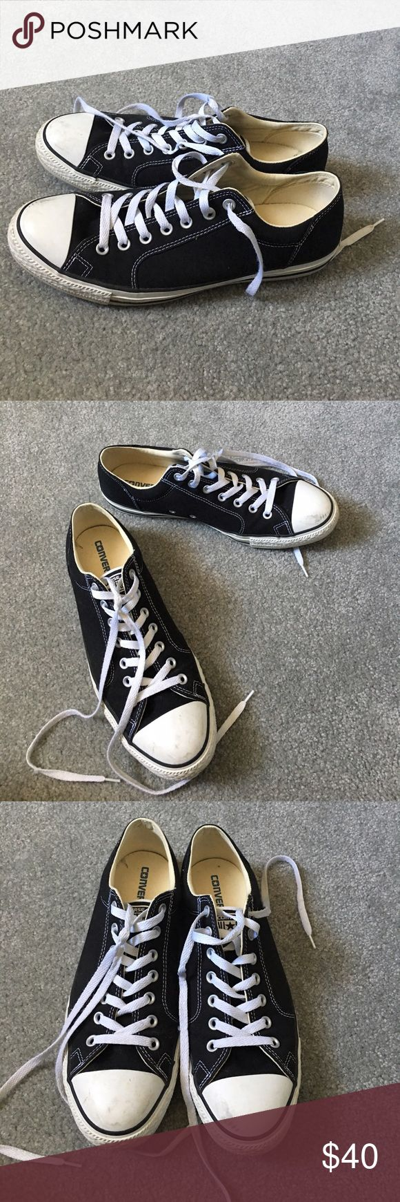 Black Converse Classic black and white converse. Thicker than the normal converse. A little dirty on the front, but other than that they are in great condition. Converse Shoes Sneakers