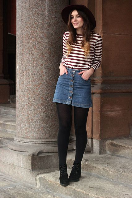 Duffle Coat Striped Top Beatnik Outfit by What Olivia Did, via Flickr