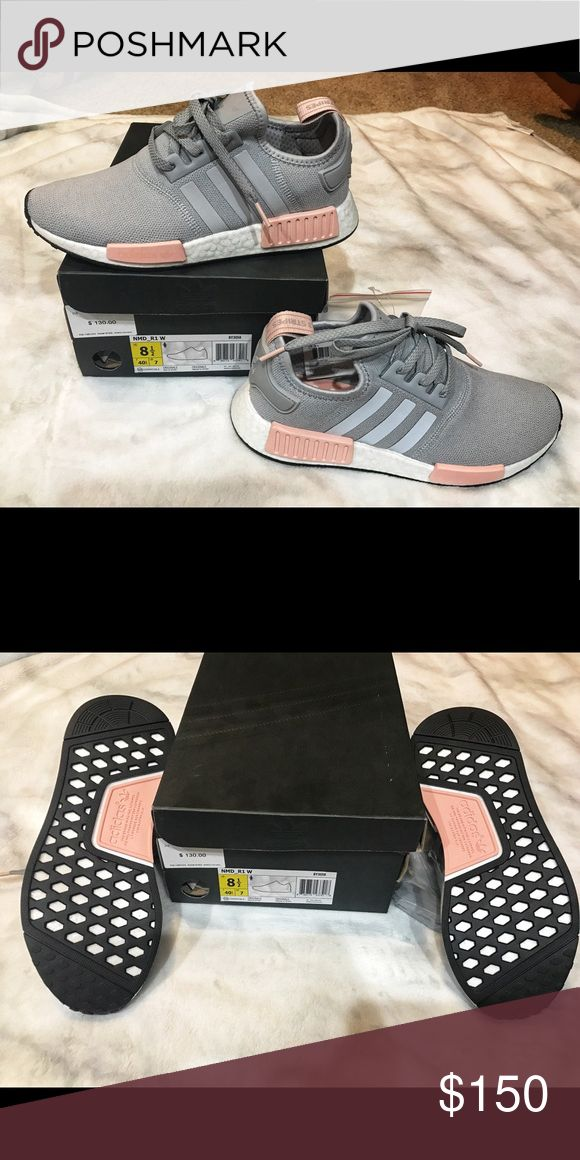 New in box Adidas nmd r1 grey pink 8 1/2 women's Brand new in box! 100% authentic!  Women's adidas nmd r1 81/2 shoes!  I purchased these in an 8 and 8 1/2 last summer and just didn't end up wearing them so I'm selling!  From a pet free and smoke free home!  Please let me know if you have any questions. From finish line adidas Shoes Athletic Shoes