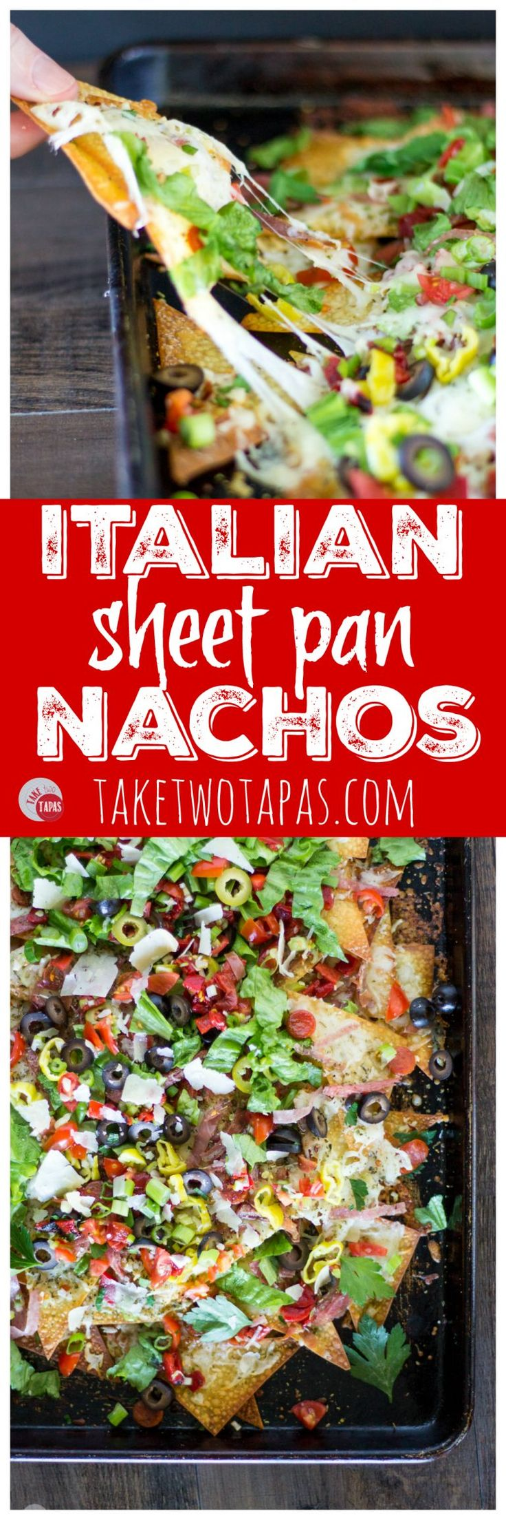 Your favorite Italian Sub Sandwich has been transformed into nachos! Wonton chips hold your favorite toppings like salami, pepperoni, prosciutto, and cheese for a sandwich you can eat like nachos and share with your friends. Italian Sheet Pan Nachos Recipe | Take Two Tapas