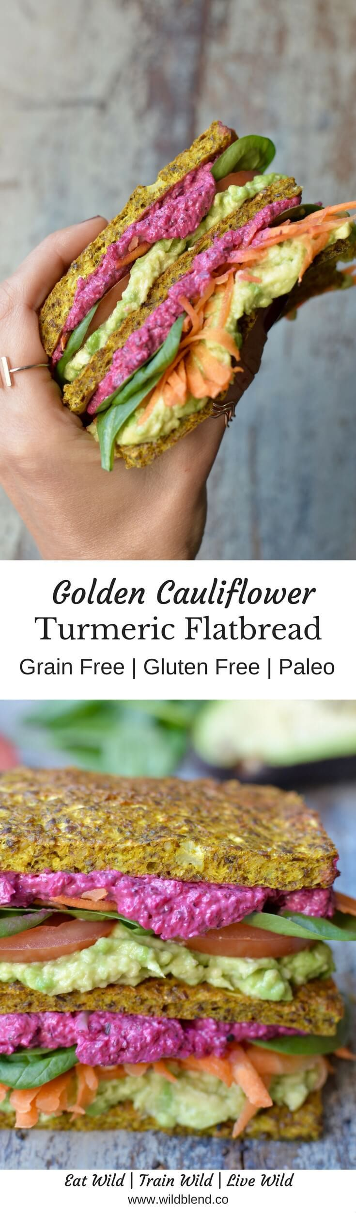 This grain-free, low-carb and veggie-packed flatbread has become a  family favourite in my house. It's a no-fuss recipe that you can  literally whip up in a matter of 15 minutes. Get the recipe here: http://www.wildblend.co/single-post/Golden-Cauliflower-Flatbread-with-Healing-Turmeric