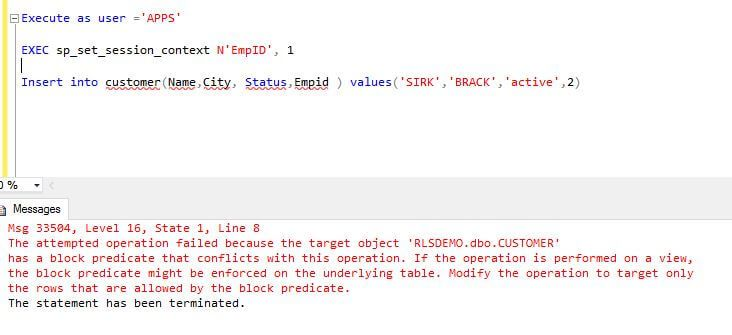 Tip of the Day - SQL Server 2016 Row Level Security Block and Filter Predicates Example.