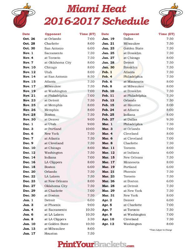Printable Miami Heat Basketball Schedule 2016 - 2017