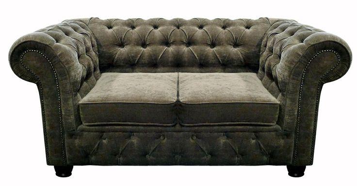 CHESTERFIELD 2 - Classic Chesterfield 2 Seater Sofa in Cover-Tex Christina Marrone Velluto Truffle with Dark Oak leg finish.