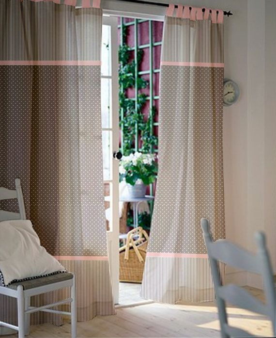 Pair of Custom Curtains/Nursery/Kids room with gray and white polka dot and striped cotton / Light baby pink border and loops/Select size