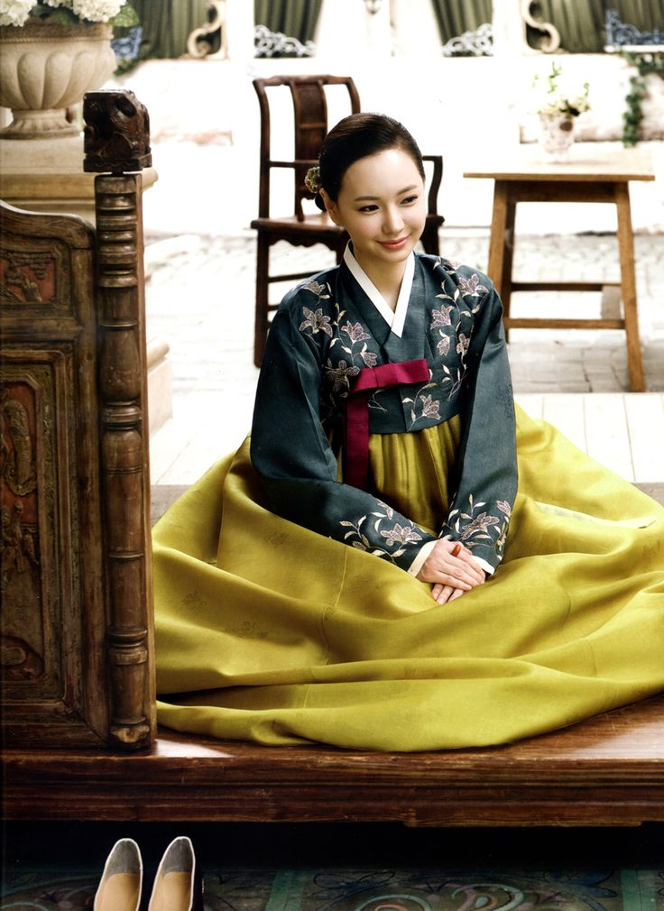 3) green and yellow hanbok