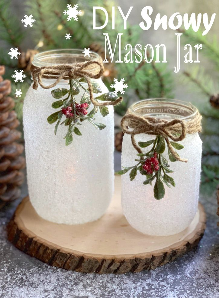 Diy Snowy Mason Jar Luminaries Mason Jar Christmas Crafts Mason Jar Crafts Diy Easy Christmas Diy