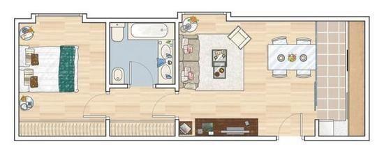 La estancia que ocupa más espacio es el salón-comedor, porque es donde los propietarios pasan más tiempo. Comunica directamente con la cocina, estrecha y muy alargada. En el extremo opuesto se encuentran el dormitorio y el baño.