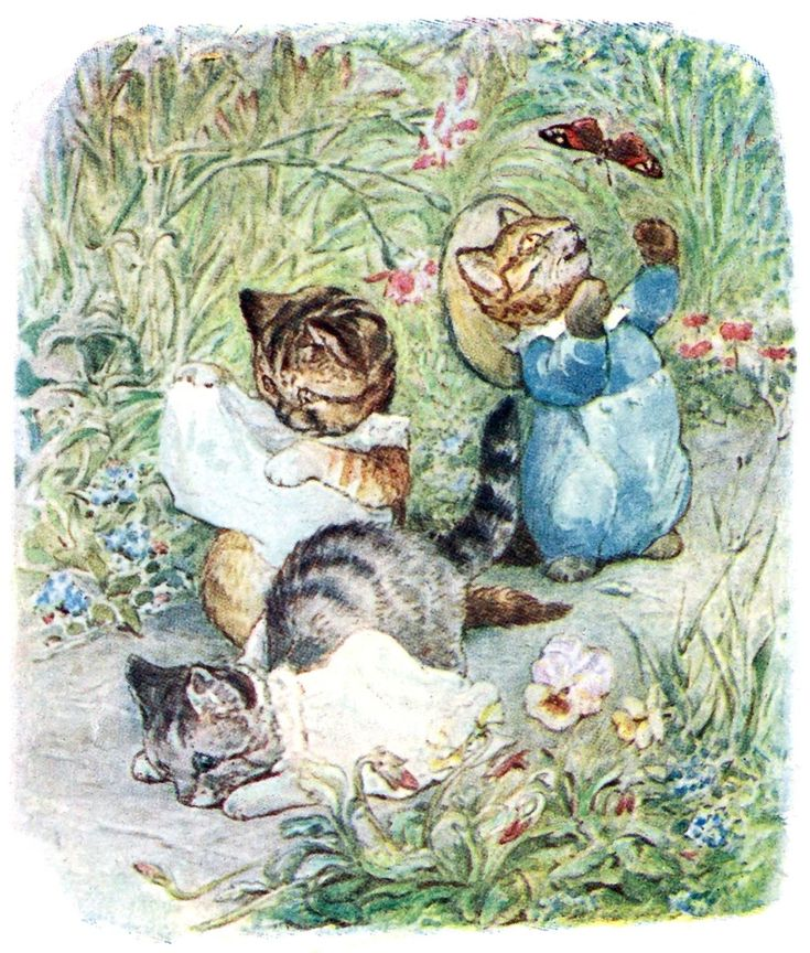 They trod upon their pinafores and fell on their noses. (The Tale of Tom Kitten)