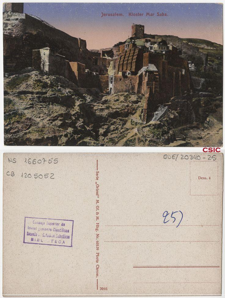 Jerusalem. Kloster Mar Saba. Editor: Hamburg : M. GL & M.  Fecha: ca.1903. Serie/Tit. relacionados: Orient 68539; Vistas de Palestina. http://bvirtual.bibliotecas.csic.es/csic:csicalephbib001660755
