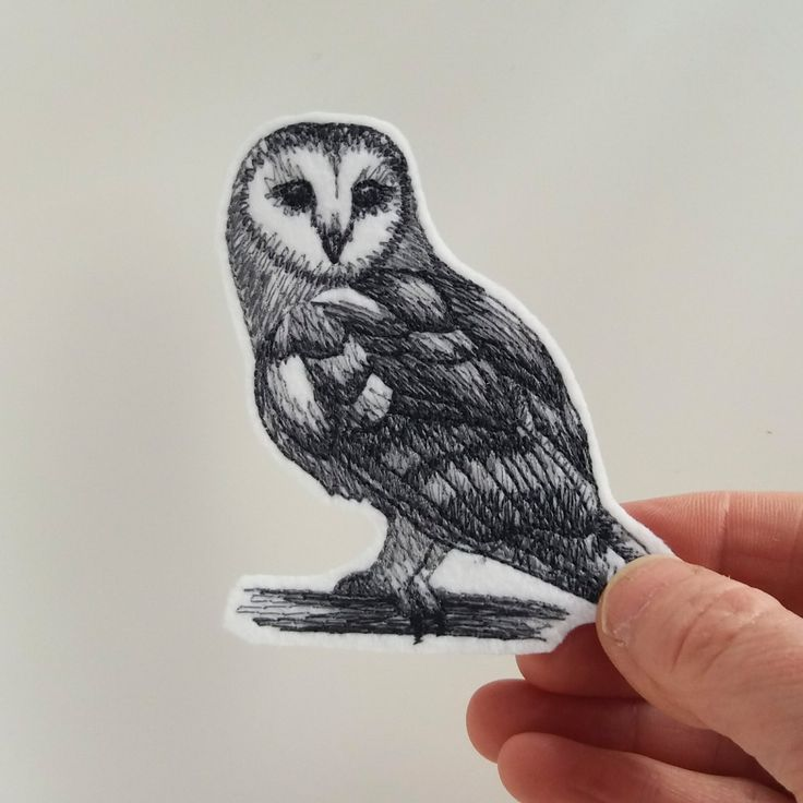Iron on patch, embroidered patch,barn owl patch, patches for jeans, patch for backpacks, grey tones on white, bird patch, owl applique. by JaneAtNumber13 on Etsy