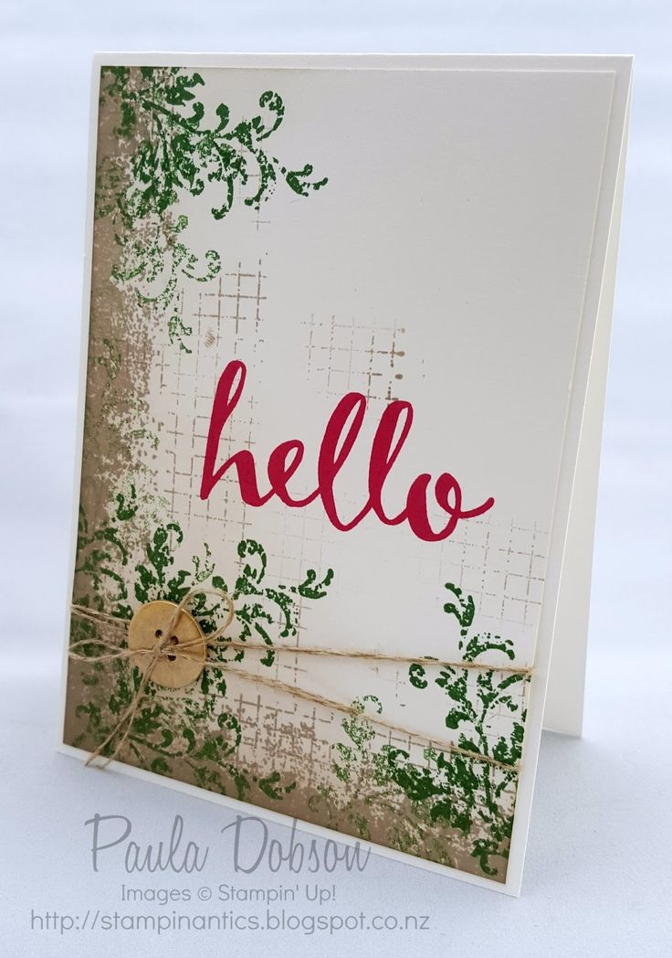 Hello card created with Timeless Textures Stamp Set from the 2016 Occasions Catalogue and the Hello Stamp Set available FREE from the 2016 Sale-A-Bration Brouchure.  In Canada get Stampin' Up! at http://tracyelsom.stampinup.net