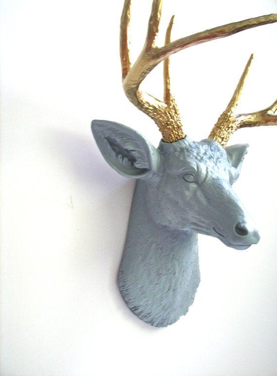 Lite Grey Gold Faux Taxidemy Deer Head Animal Head Wall Mount Wall