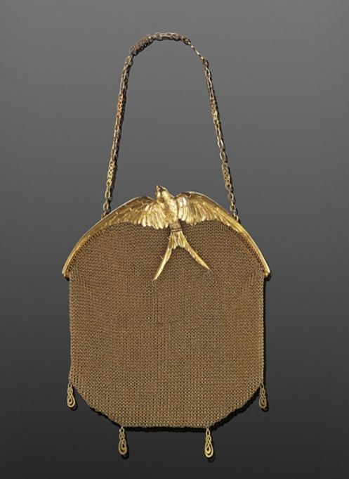 Love! Art Nouveau 18K Yellow Gold Mesh Sculpted Swallow Evening Bag by LaCloche Freres
