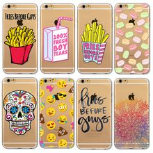 Cubierta de la caja para iphone 5 5s se 6 6 s plus plus 6 suave TPU Transparente Francés Frries Cráneo Emoji Flores Tigre Pintado Casos bolsa(China (Mainland))