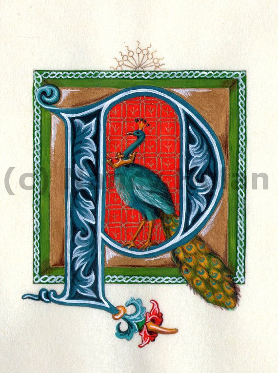 Medieval Illuminated Letter P, Alphabet Letter P, Painted Initial