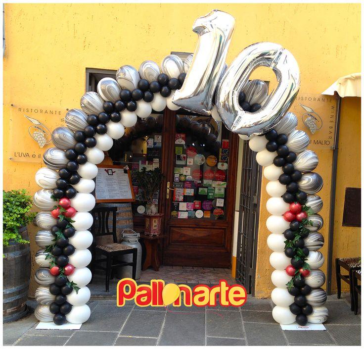 arco con palloncini anniversario Ristorante 10 anni arco con globos aniversario Restaurante