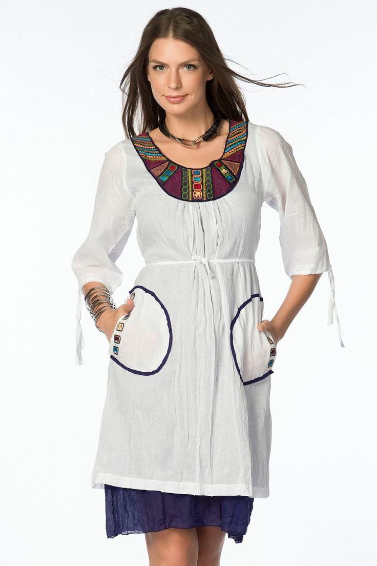 Otantik Gölyazı Elbise - Beyaz