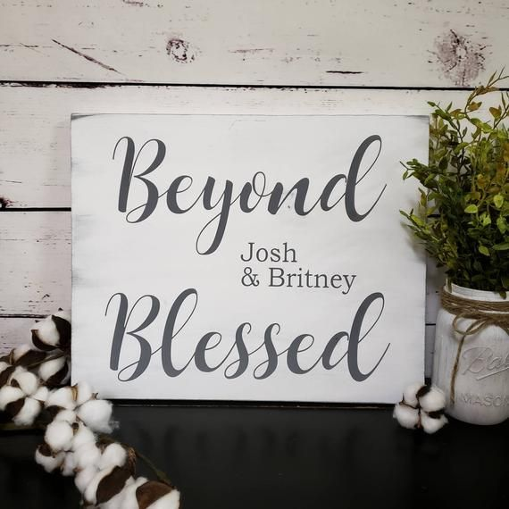 Beyond Blessed Personalized Sign Inspirational Wall Art Farmhouse Christian Wall Ar Personalized Wood Signs Personalized Farmhouse Sign Personalized Signs