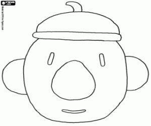 Het gezicht van Pat met de baret kleurplaat