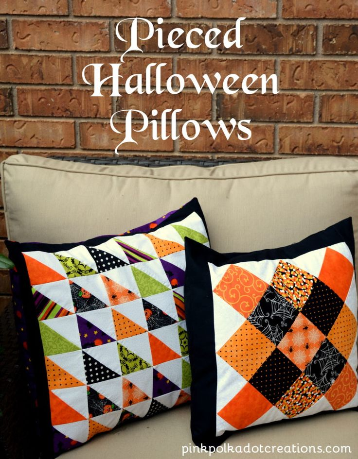 Scrappy Halloween Pillows.  You will find a pattern and tutorial to make both!  Pink Polka Dot Creations.