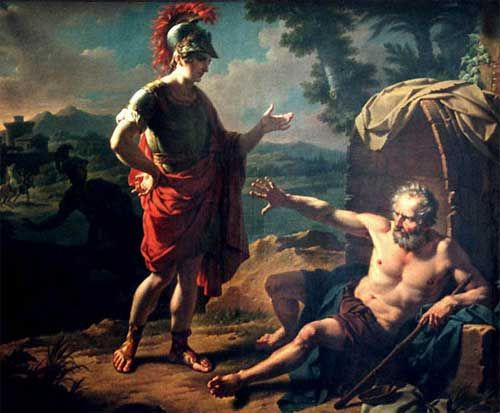 Diogenes. As a cynic, he is the closest thing I have to a philosophical ideal. He also had the choneys to tell the great Alexander to step out of his light.