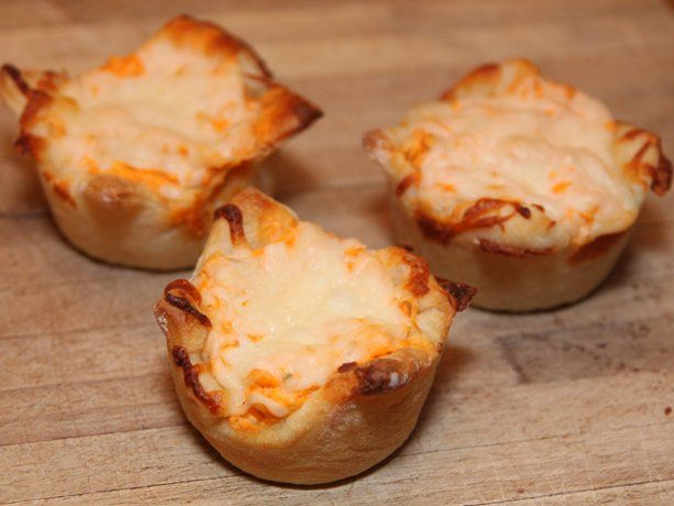 Buffalo Chicken Appetizer Cupcakes - could make in mini muffins using crescent roll dough or phyllo