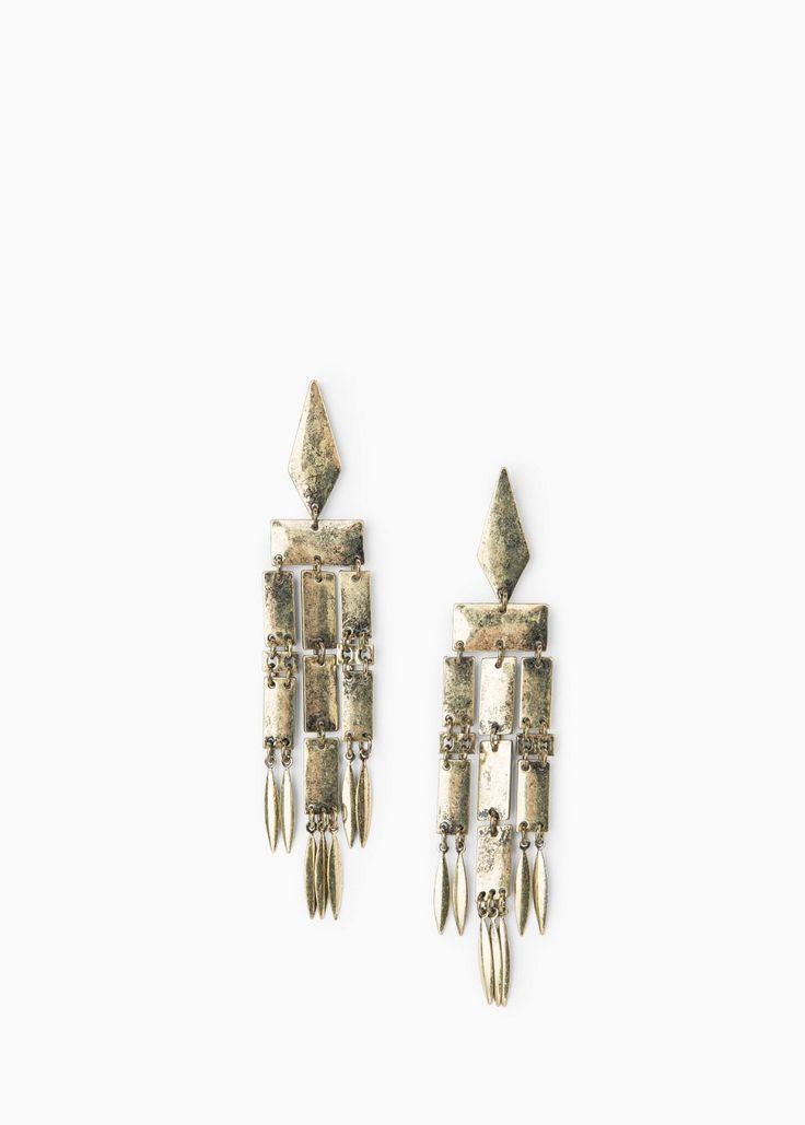 Brincos pendentes metálicos. MANGO. Golden metalized earrings.