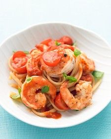 Shrimp, tomato, basil pasta. This is one of my all time favorite meals! Its fresh, easy and downright tasty.