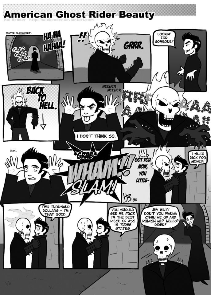 American Beauty/Ghost Rider fan art Ghost Rider's reaction kills me every single time