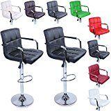 TRESKO Lot de 2 Tabourets de bar Chaise de bar Chaise lounge avec dossier et accoudoir 8 couleurs différentes chromé rotation à 360 hauteur réglable de 620 à 825 cm (Noir)