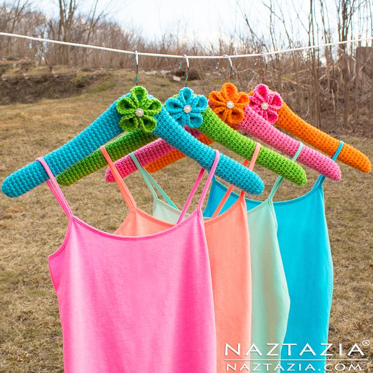 Crochet Clothes Hanger Cover - DIY Free Pattern & YouTube Tutorial by Donna Wolfe from Naztazia