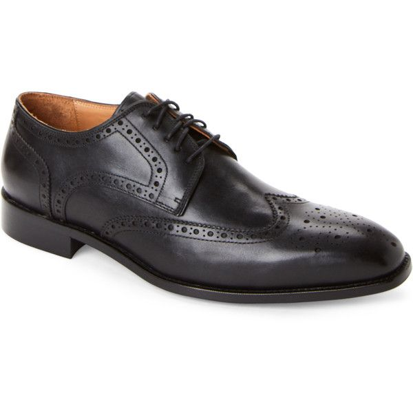 Warfield & Grand Black Bailey Brogue Wingtip Derby Shoes ($115) ❤ liked on Polyvore featuring men's fashion, men's shoes, men's oxfords, black, mens shoes, mens fur lined shoes, mens black wingtip shoes, mens brogue shoes and mens wingtip shoes