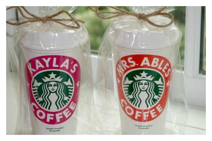 personalized starbucks cups make fantastic teacher gifts   these are made by a 13 year old girl!