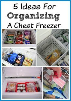 Here are some great ideas for organizing a chest freezer. Chest freezers are great for stocking up on food bought on sale.