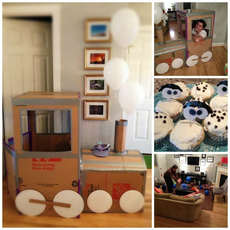 Oliver's 2nd birthday- DIY cardboard train