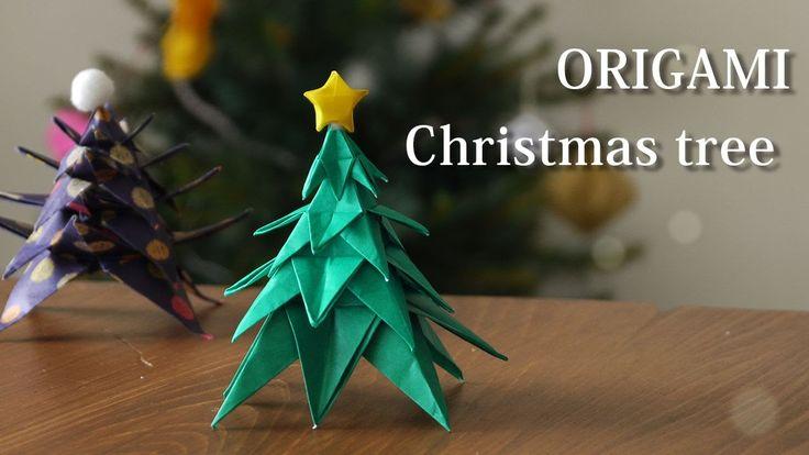折り紙でクリスマスツリーの作り方。星も一緒に作ろう♪【Origami Tutorial】How to make A  PAPER  CHRIST...