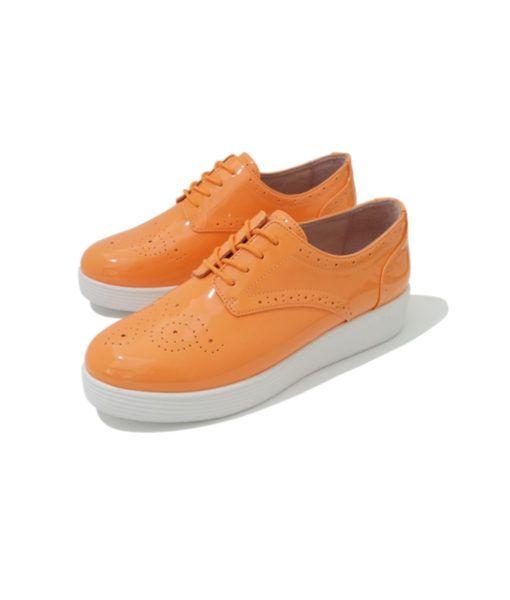 Derby orange mellow yellow Binari. Chaussures compensées semelle blanche pour femme.