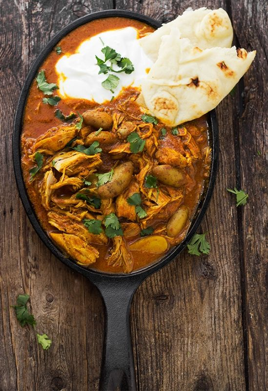 Indian Spiced Stew with Chicken and Potatoes in a Creamy Tomato Sauce - hearty and warming for this chilly weather!