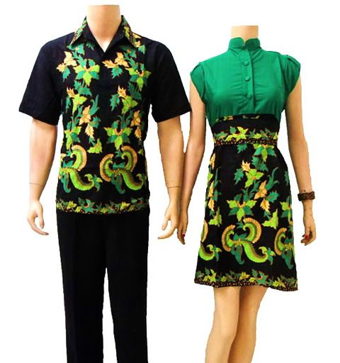 batik sarimbit couple modern hitam hijau
