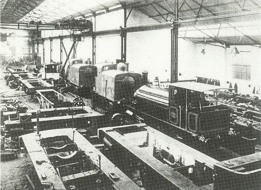 A view of the erecting shop of the Avonside Engine Company taken in the early 20th century.