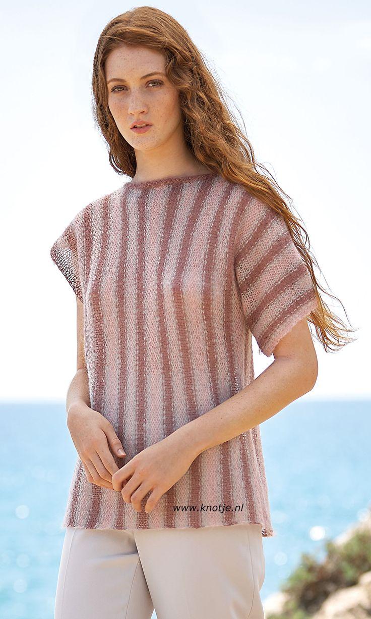 Breien met www.Knotje.nl   Deze makkelijk te maken trui, in 3 kleuren, is gemaakt met Katia Concept Aire. Katia Aire is een zeer fijne kwaliteit, een mengeling van Baby Alpaca en Super Kid Mohair. Verkrijgbaar in 17 kleuren.  Model en patroon staan beschreven in het patronenboek Katia Concept 3 (pagina 42).