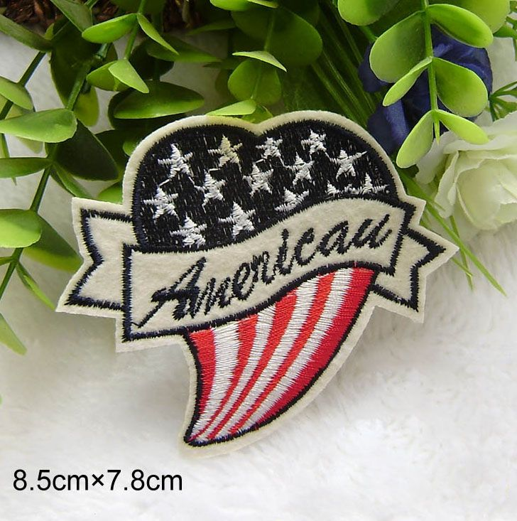 5 pcs/set 8.5*7.8CM Heart-Shaped American Flag Embroidered Iron On Patches For Clothes Garment Applique DIY Accessory