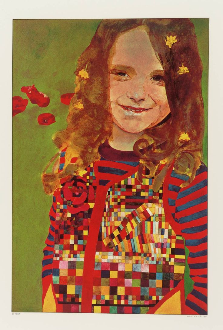 Peter Blake, Girl in a Poppy Field,1974 I Like this piece because i think that the way her shirt was created give a mosque effect