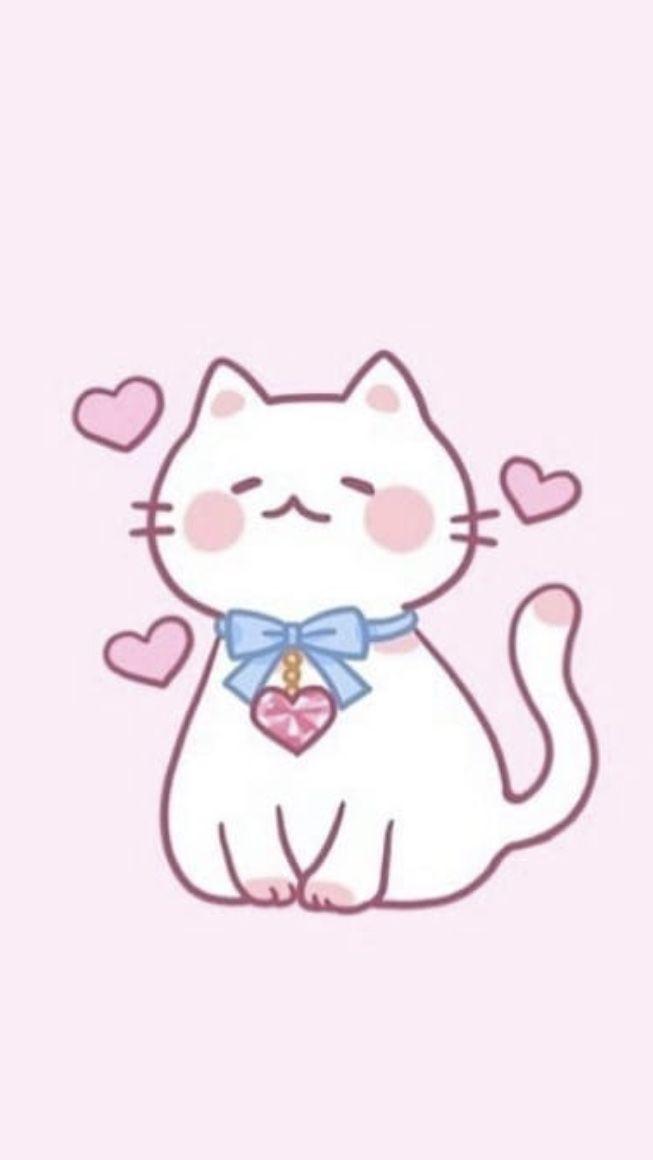 White Cat Cartoon Wallpaper Cartoon Wallpaper Pink Wallpaper Backgrounds Cartoon Cat