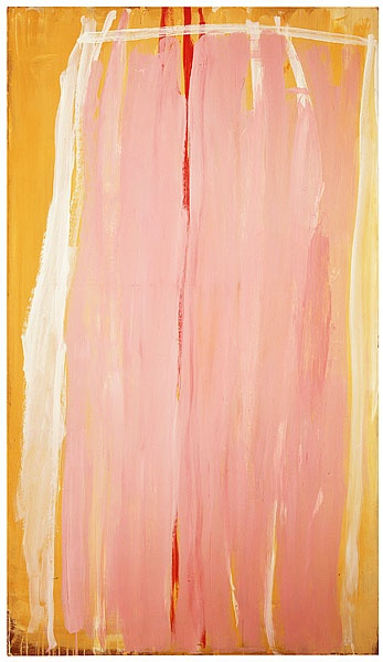 Tony Tuckson / Pink, white line, yellow edge, red line middle / c.1973 / synthetic polymer paint on composition board