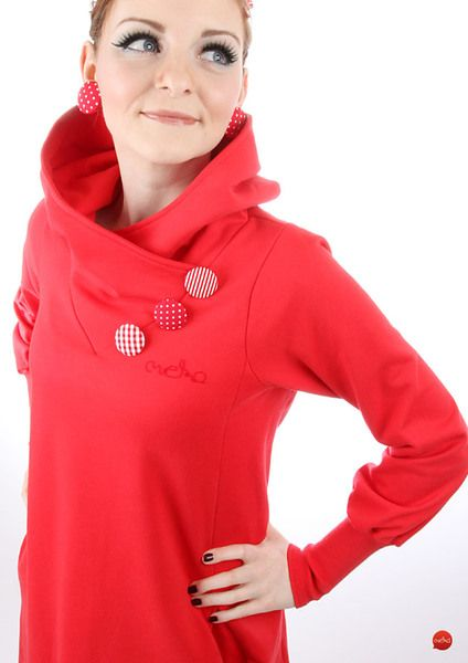"Capes & Ponchos - MEKO ""Chrisy"" Poncho Jacke Poncho Kapuze Rot - ein Designerstück von meko bei DaWanda"
