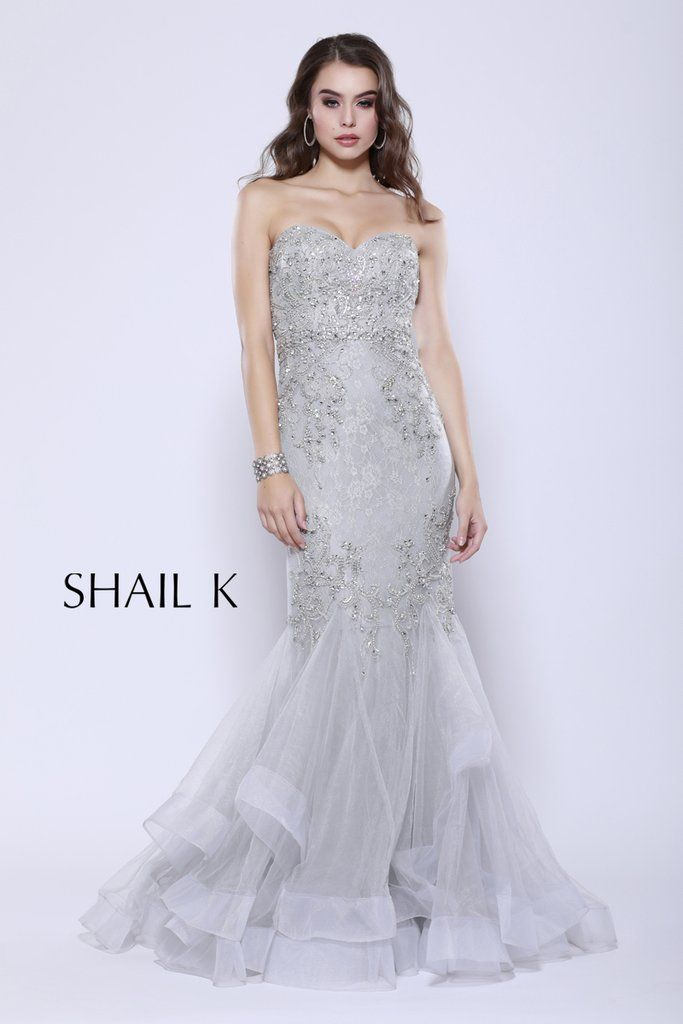 8c898eecbaa5b Strapless Sweetheart Belted Embellished Silver Mermaid Style Prom Dress  33918
