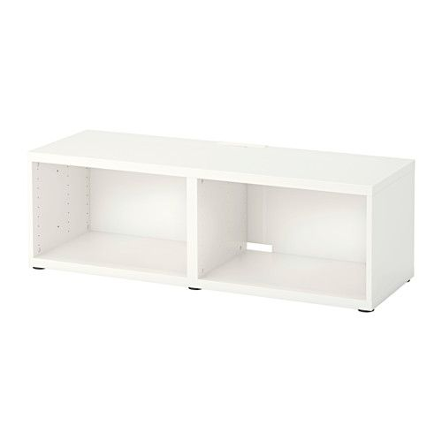 IKEA - BESTÅ, TV unit, , It's easy to keep the cords from your TV and other devices out of sight but close at hand, as there are several cord outlets at the back of the TV bench.You can choose to stand the TV bench on the floor or mount it on the wall to free up floor space.If you want to organize inside you can complement with BESTÅ interior fittings.Steady on uneven floors, thanks to the adjustable feet.